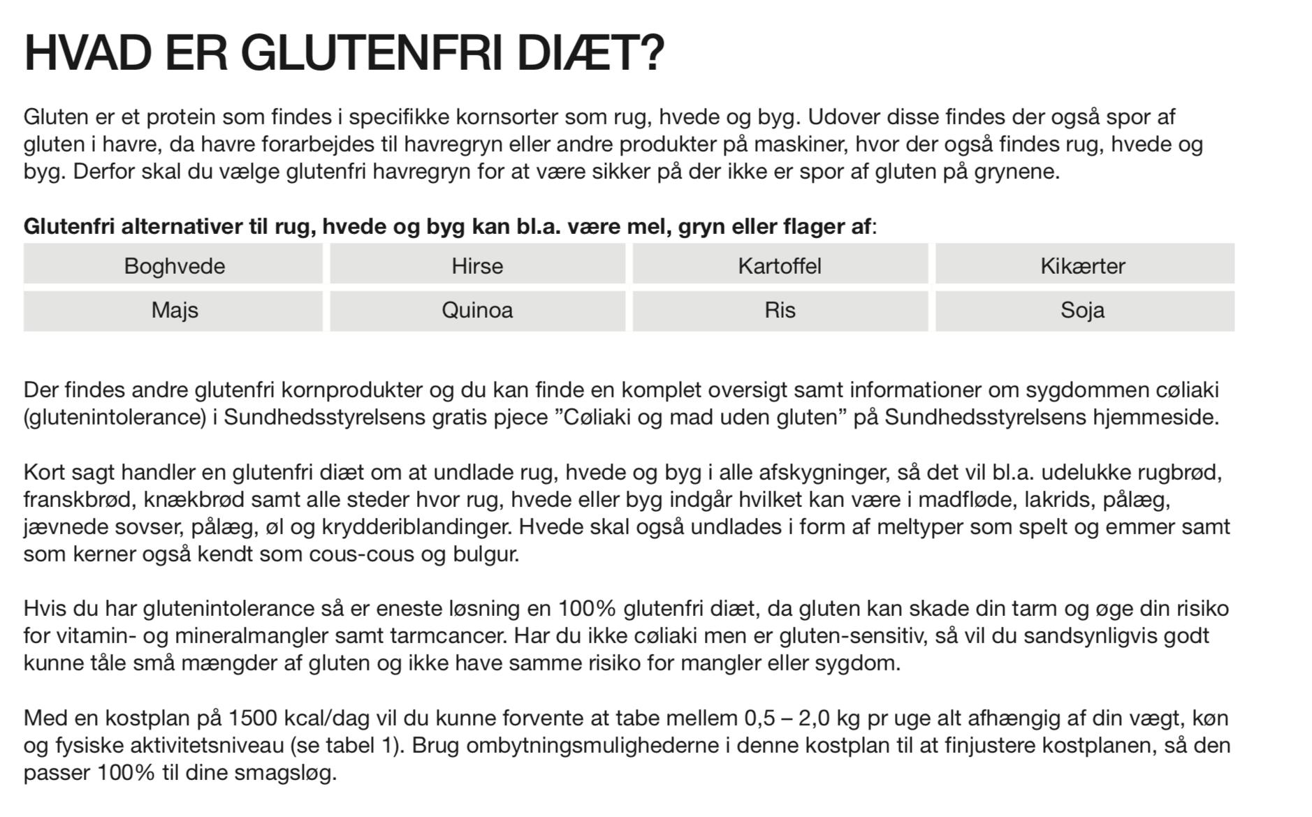 diæt kostplan vægttab